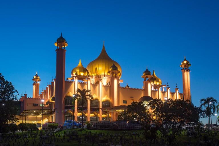 Kuching City Mosque at night, Sarawak, Malaysia