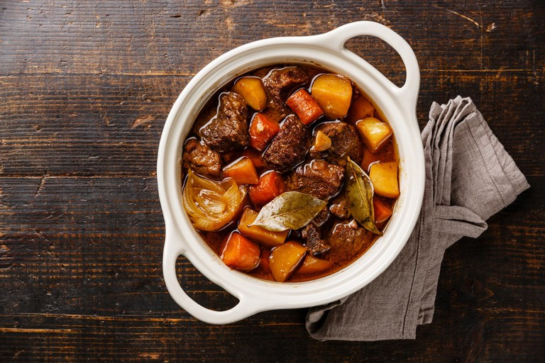 Beef meat stewed with potatoes, carrots and spices