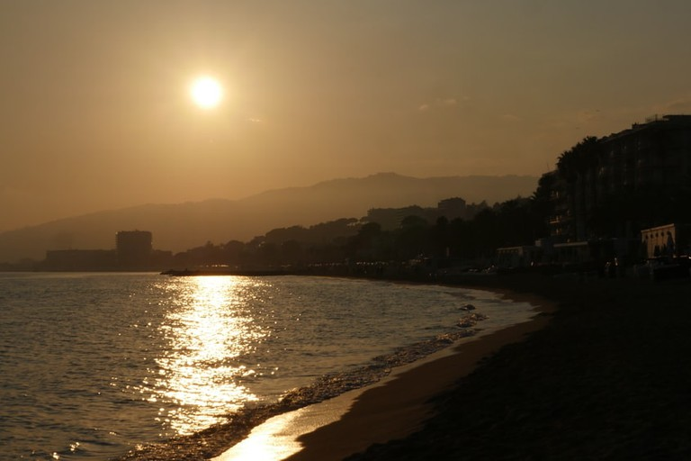 Sunset over the beach at La Bocca, Cannes