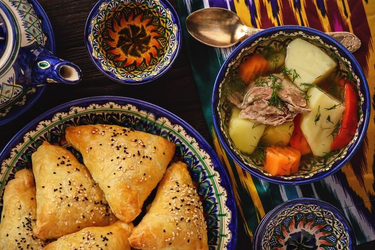 Soup with lamb and vegetables, oriental uzbek style cuisine