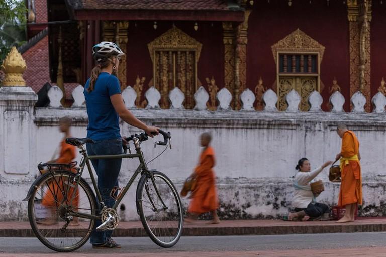 Cyclist in Luang Prabang