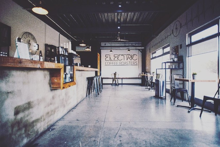 Industrial, minimalist decor at super-cool Electric Coffee Roasters