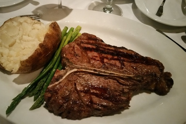 steak, vegetables, potato, THE Steak House, Las Vegas