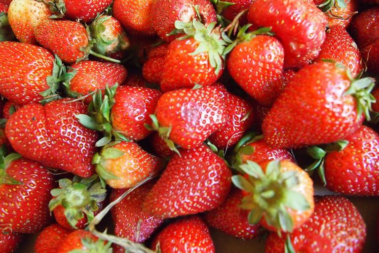 Fresh strawberries during summer