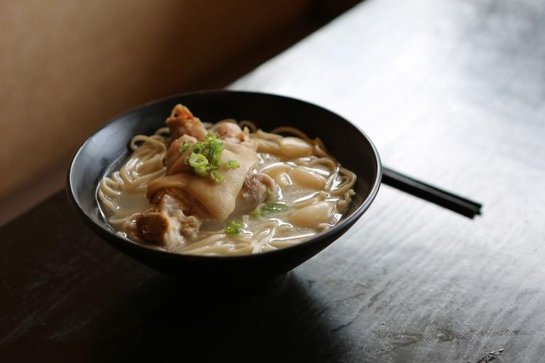 dumplings and noodles with soup