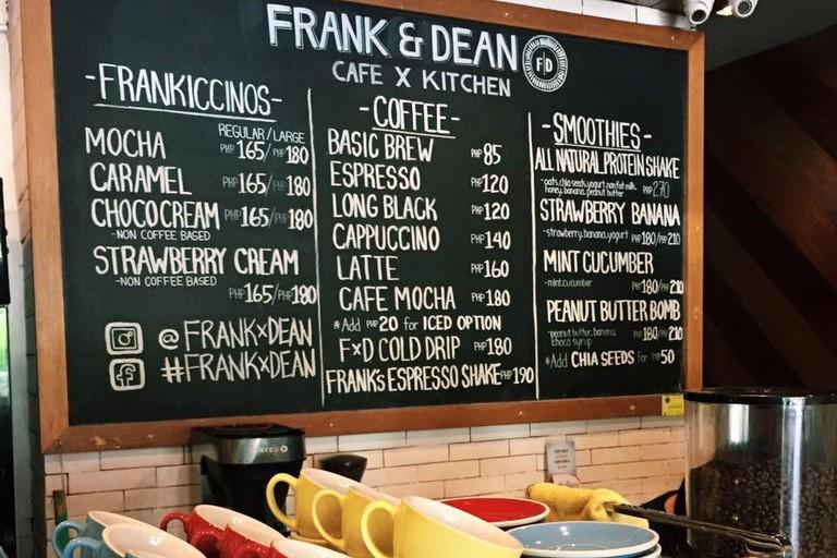 Frank and Dean's Coffee Blackboard