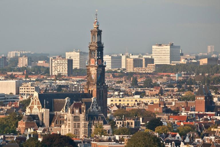 The Netherlands, Amsterdam, Aerial view from building called Toren Overhoeks. City center. Church called Westerkerk.