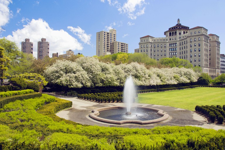 The Conservatory Gardens and fountain in spring at Central Park in New York city, New York, USA.