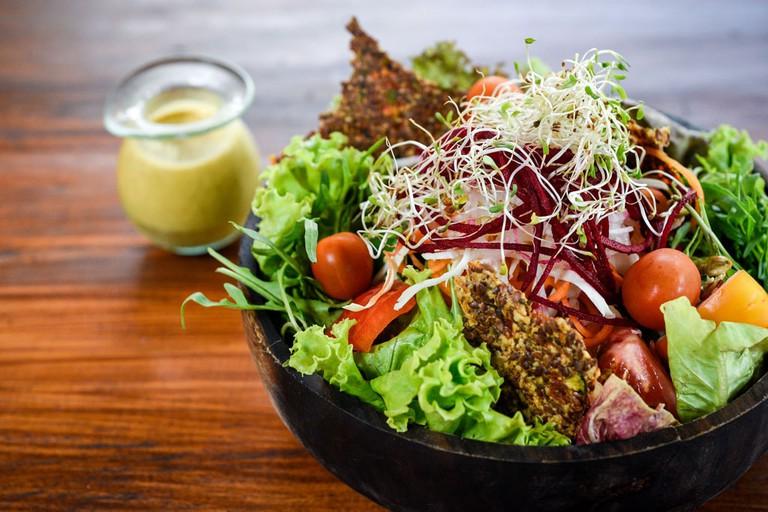 Salad bowl at the Yoga Barn Garden Kafe vegetarian restaurant