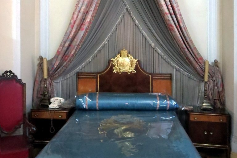 Emperor Haile Selassie's bed is preserved inside his former residence