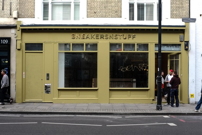 Exterior of 'Sneakersnstuff' store on Shoreditch High Street, London.