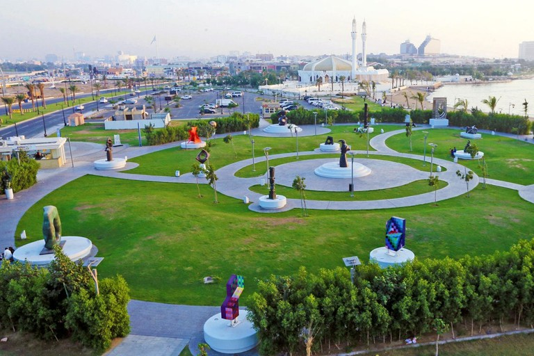 The sculptures stand in a park near the corniche