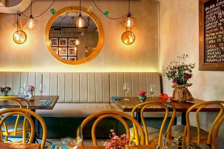 The cosy interior of Miamiam in Belgrade