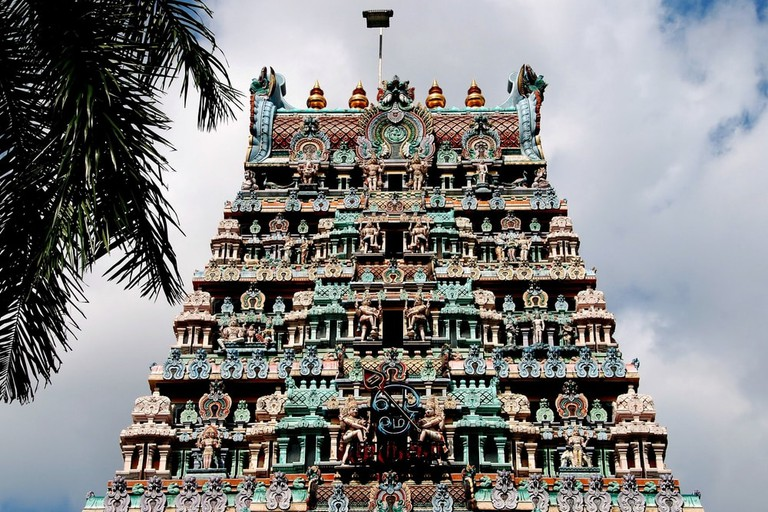 Gopuram Sikhara tower of Sri Thendayuthapani Hindu temple