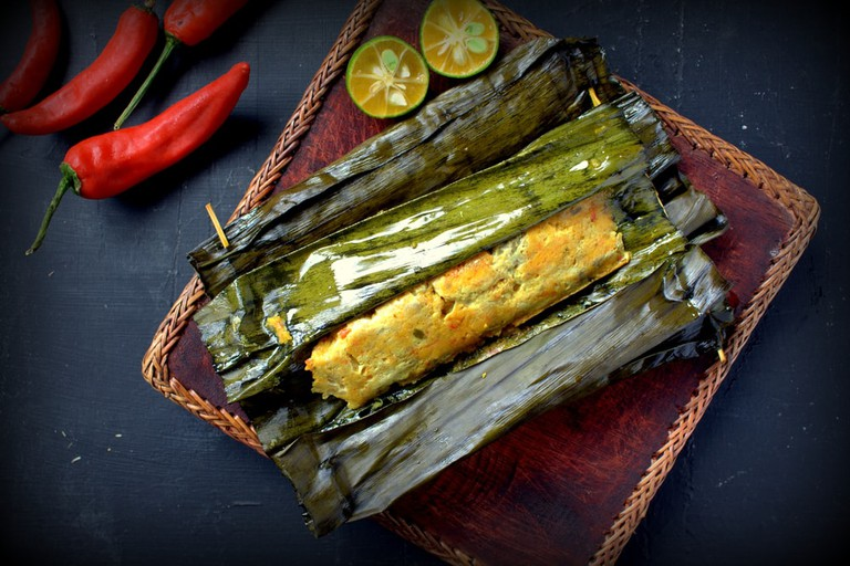 Ikan pepes, Indonesian steamed and grill fish wrapped in banana leaves