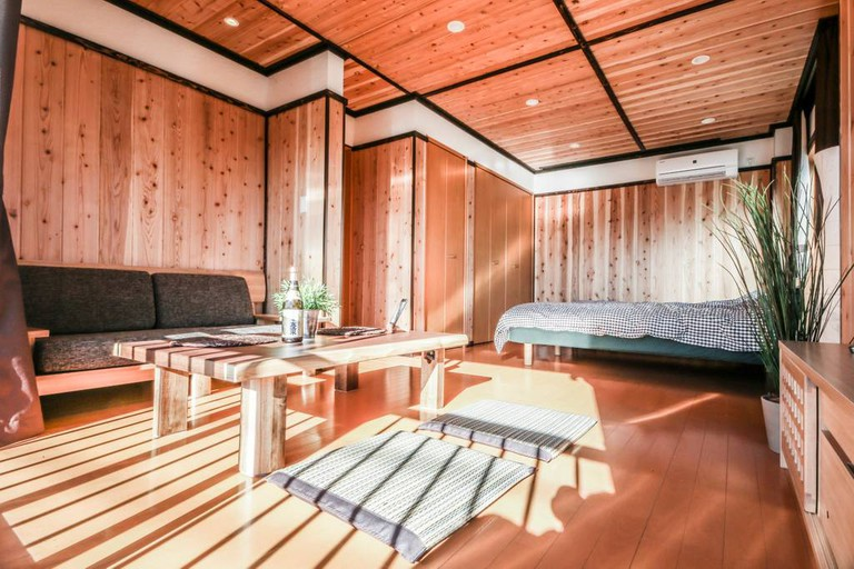 Master bedroom at the cozy 2 bedroom apartment located in northeastern neighbourhood of Katsushika.