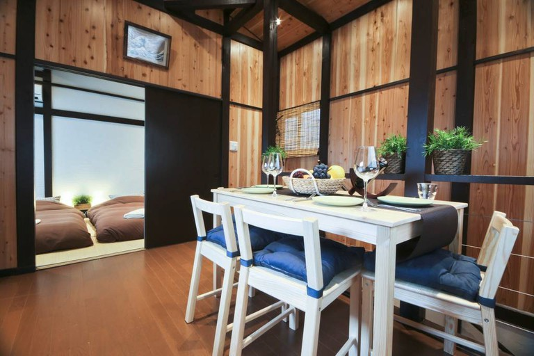 2nd floor dining at the AirBnB house Located in Tateishi, a quaint neighborhood built around a local station in Tokyo.