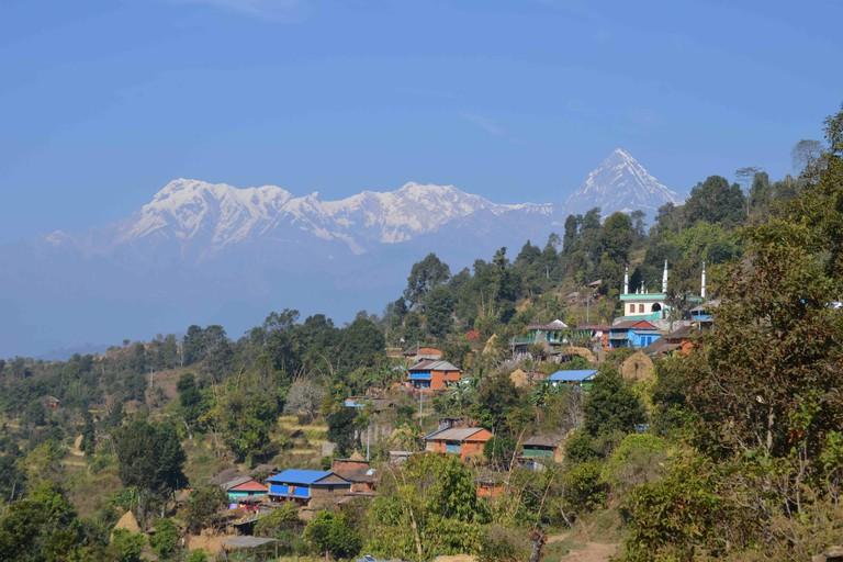 Views of the Annapurna Himalaya from a village beside Rupakot Resort
