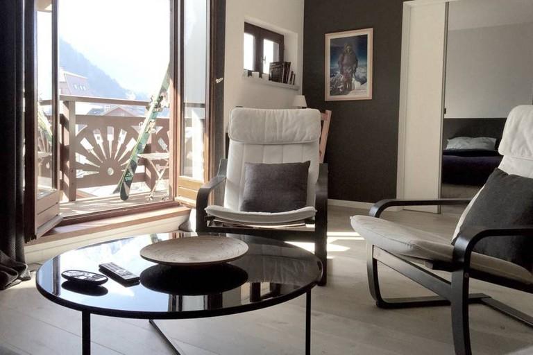 The living room of Alexandra's Chamonix apartment