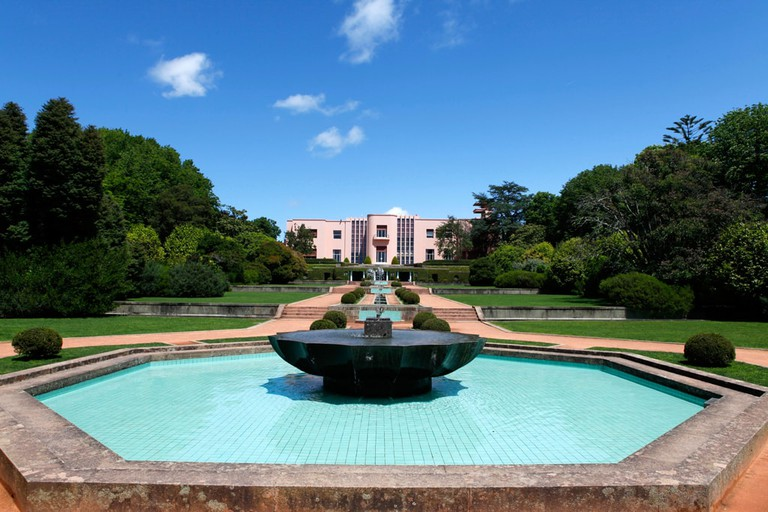 A fountain within the park of the Serralves Contemporary Art Museum in Porto, Portugal