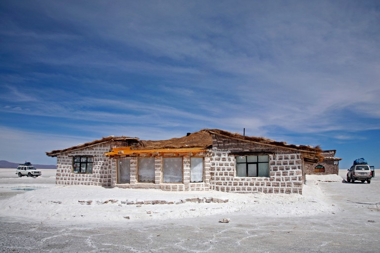 Salt hotel for tourists in the middle of the salt flat Salar de Uyuni, Altiplano in Bolivia