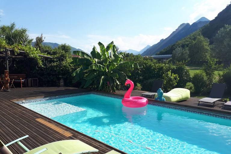 Swimming pool at Gite L'O Bleue