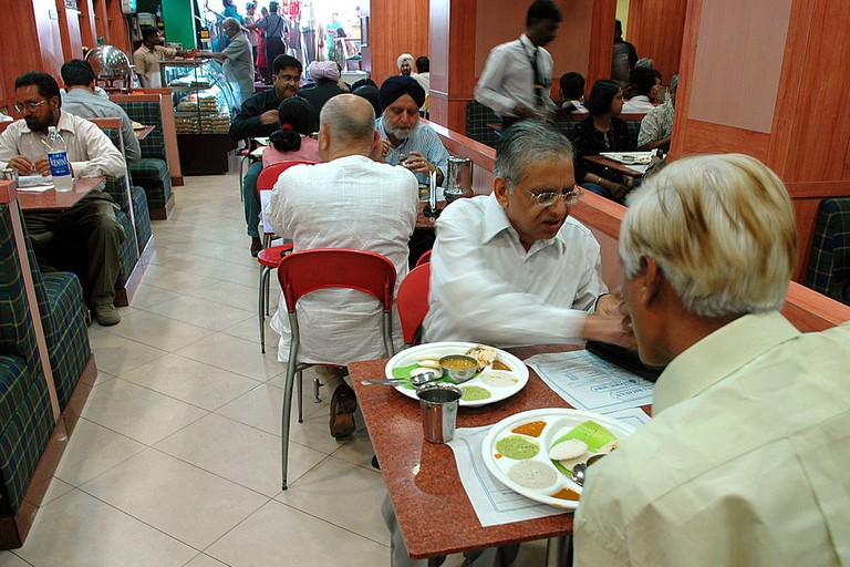 Hotel Saravana Bhavan, a South Indian food restaurant at Janpath Road in New Delhi, India