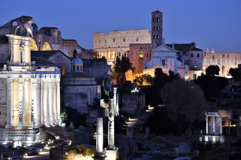 Roman Forum and Colosseum in Rome, Italy.