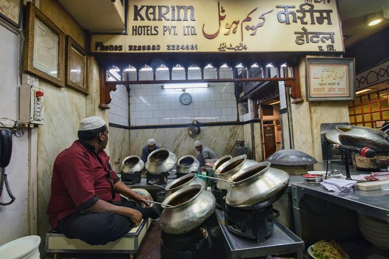 Curry pots at the legendary Karim's Restaurant, Old Delhi, India