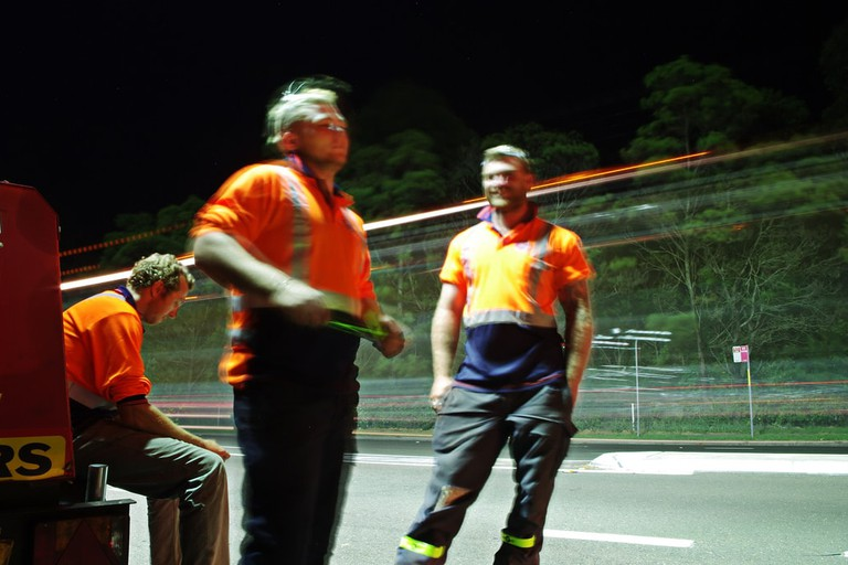 Road crew working on the Wakehurst Parkway at night, possibly warding off ghosts © Nico Nelson / Flickr