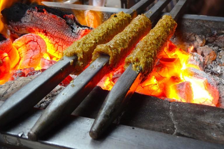 Seekh_Kebabs_on_Fire