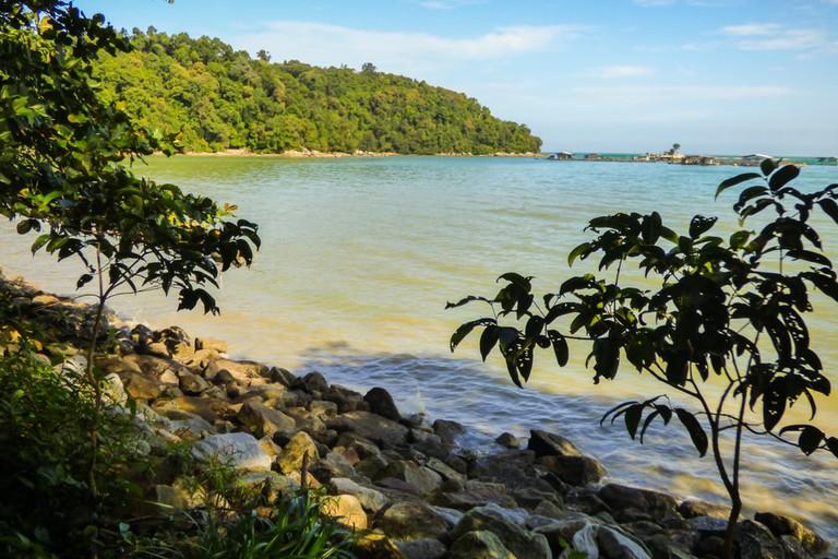 Beach near the hiking path at Penang's National Park, Penang, Malaysia.