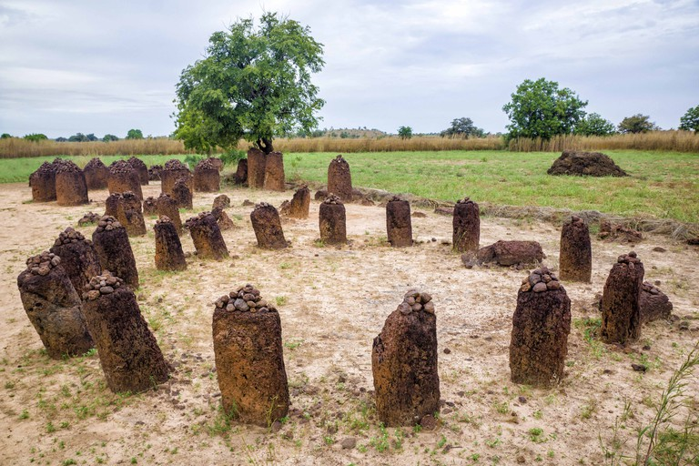The ancient Wassu Stone Circles in Gambia.