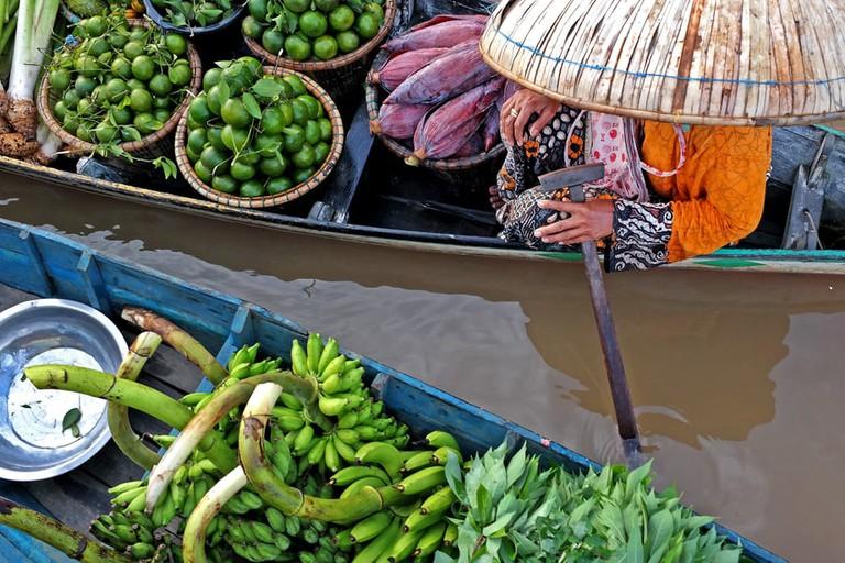 Floating market Lok Baintan, South Borneo