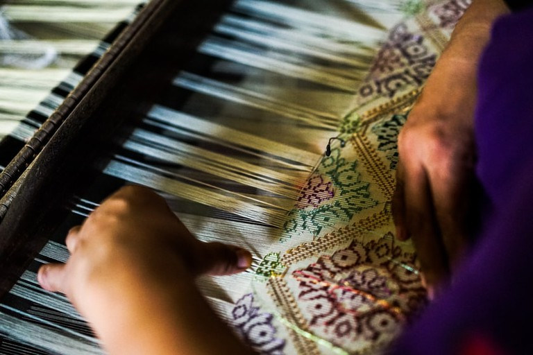 A traditional Songket weaver, Malaysia