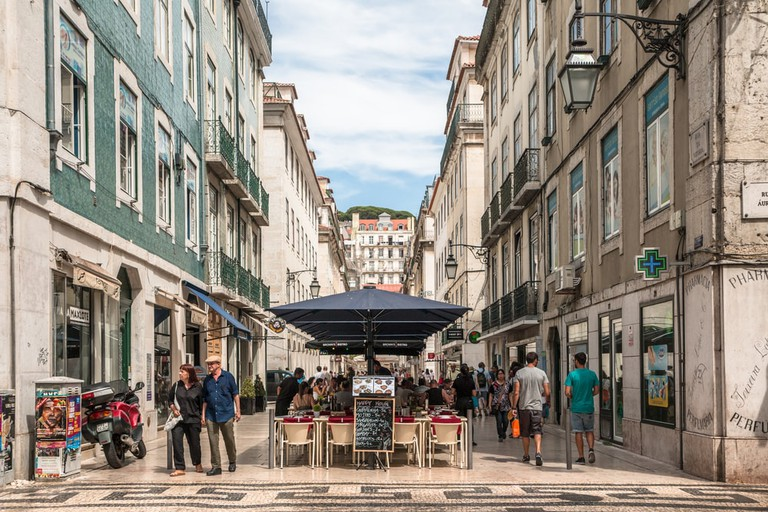 Cafe and restaurants in Lisbon, Portugal.
