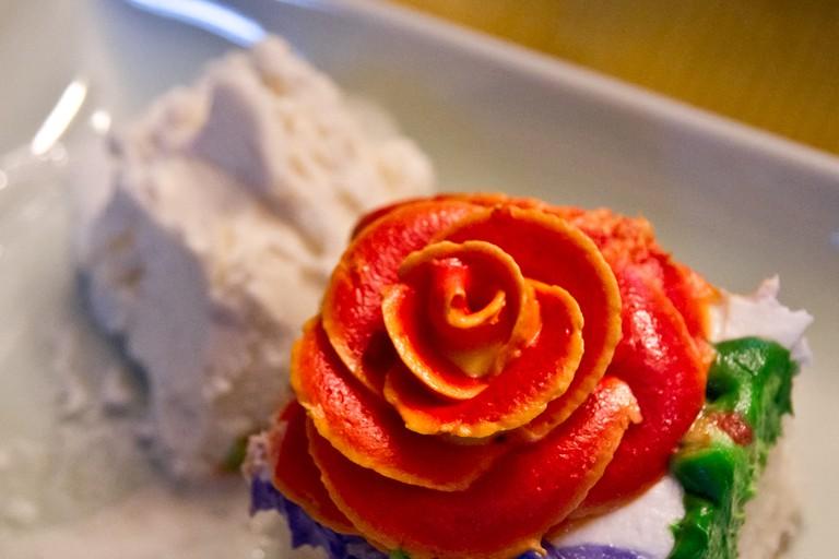 cake and a rose ice cream