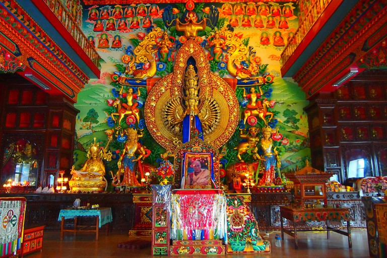 The ornately decorated hall at the Kopan Monastery