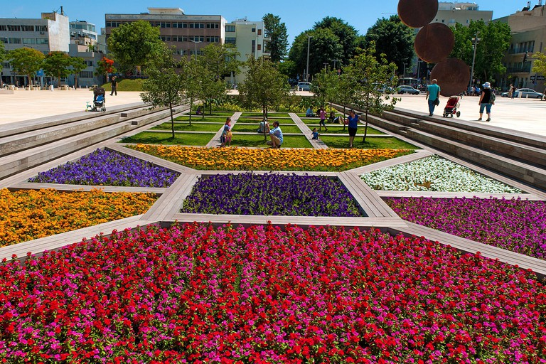 Flower gardens at Habimah Square Tel Aviv, Israel.