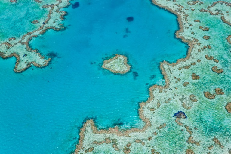 Aerial view of Heart Reef, part of Great Barrier Reef