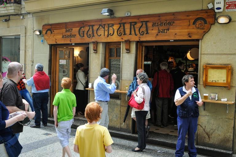 Ganbara, Tapas (Pintxo) bars in the old town Parte Vieja of San Sebastian Spain