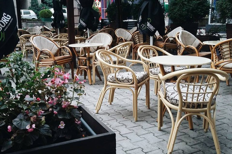 The garden at Cafe Satelit in Užice, Serbia