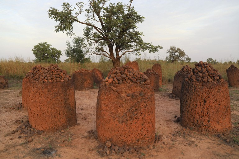Ancient stone circles (megaliths) in Wassu Gambia, Senegambia, Africa.