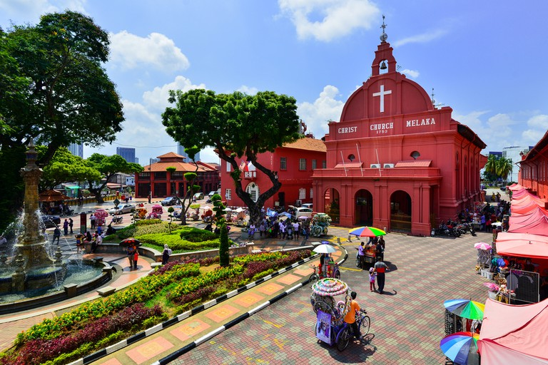 Christ Church & Dutch Square in Malacca City, Malaysia.