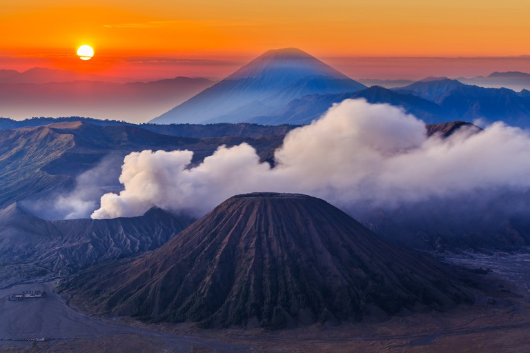 Mount Bromo at sunrise, Tengger Semeru National Park in East Java, Indonesia.