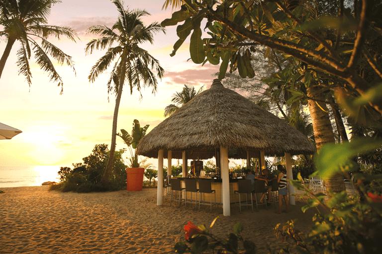 Evening sunset scene at The Sand Bar, Hard Rock Hotel