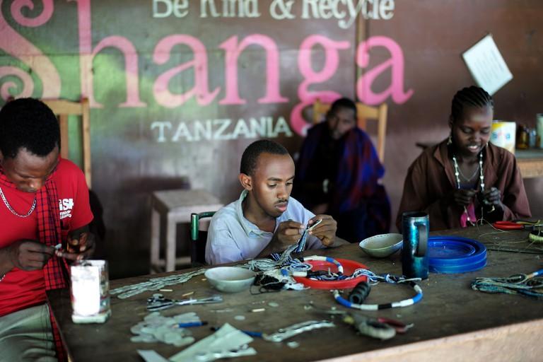 Necklace maker at the Shanga workshop