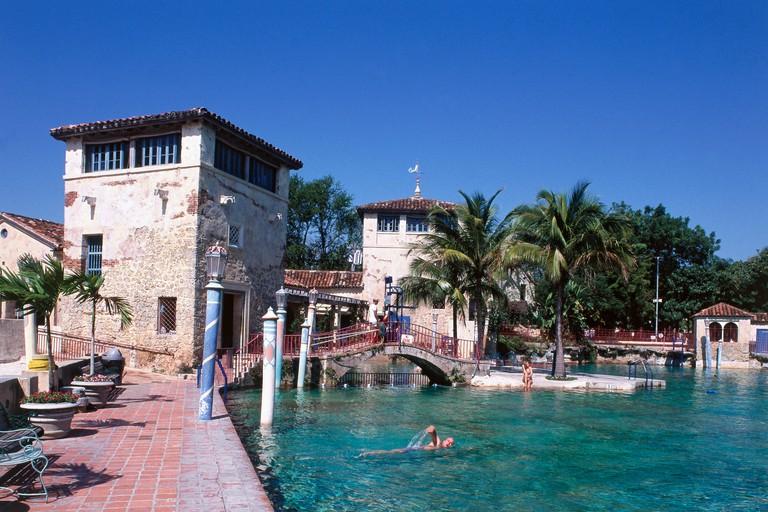 Venetian Pool in Coral Gables, Miami. The Venetian Pool is an 820,000-gallon swimming oasis