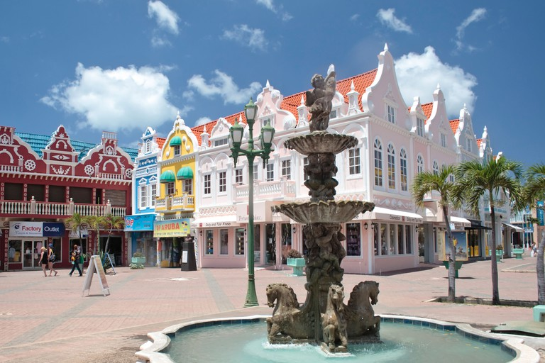 Fountain in the outdoor plaza, Oranjestad, Aruba.