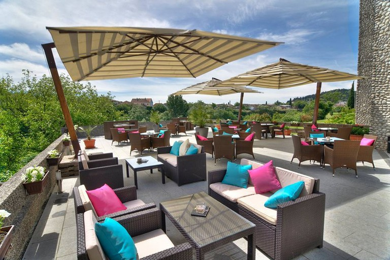 The delightful terrace at Hotel Podgorica in the Montenegrin capital